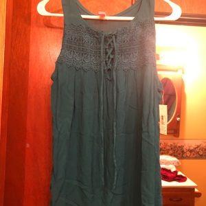 Sea Blue Lace Crochet Blouse Tie Front Tank Teal